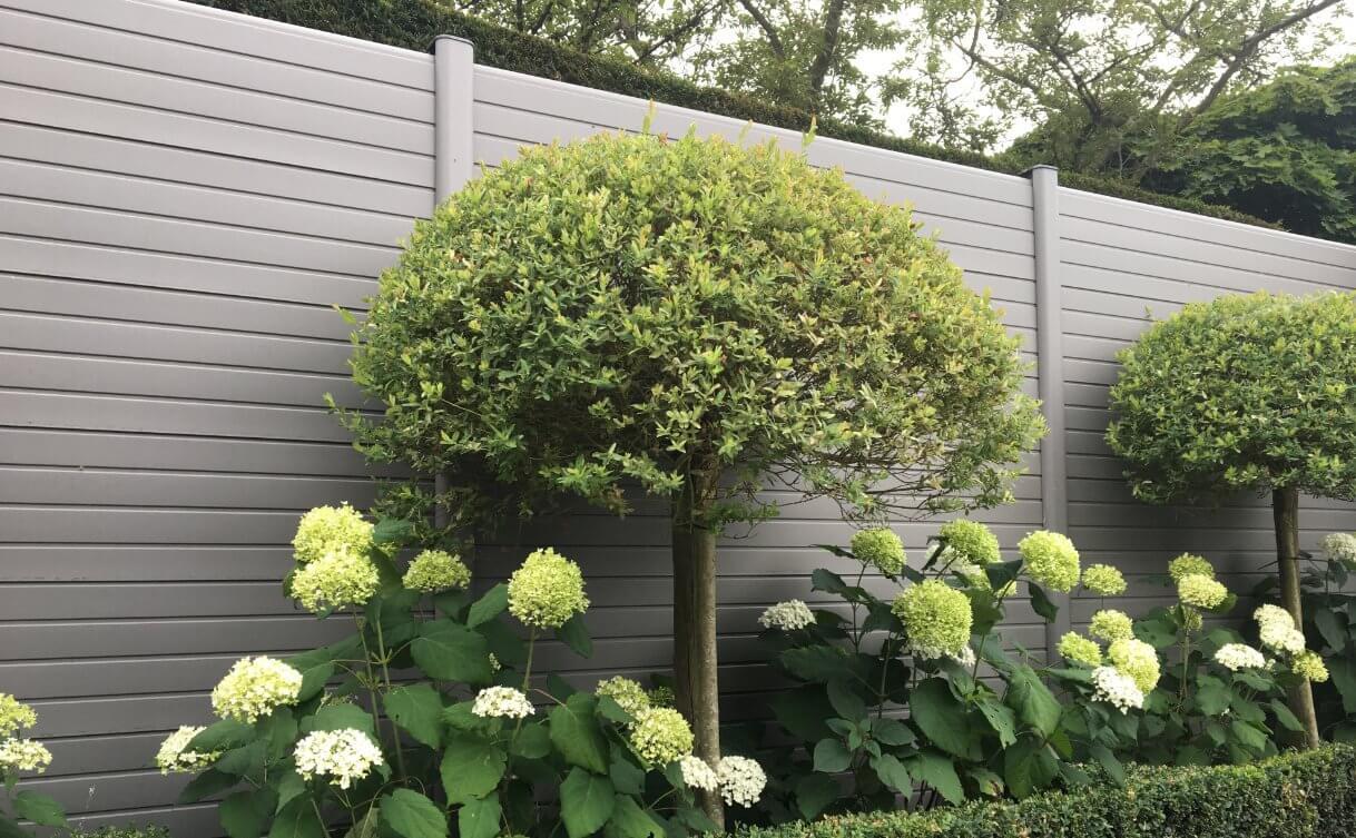 ECOfencing kunststof tuinscherm in de grijze kleur