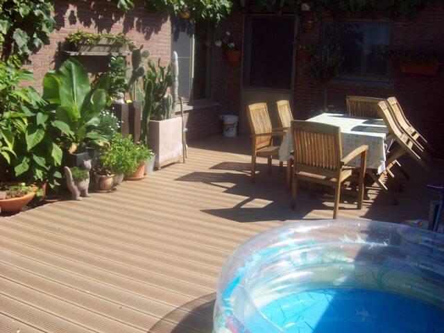 Op een Govadeck terras kan je zonder probleem een kinderzwembadje plaatsen want volledig splintervrij.