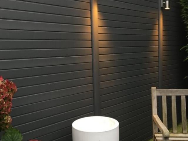ECOfencing tuinscherm grijs met ledspots enkel