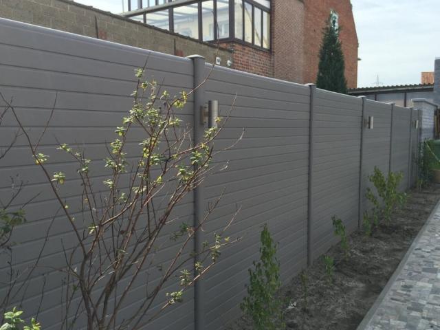 ECOfencing tuinscherm grijs met ledspots dubbel