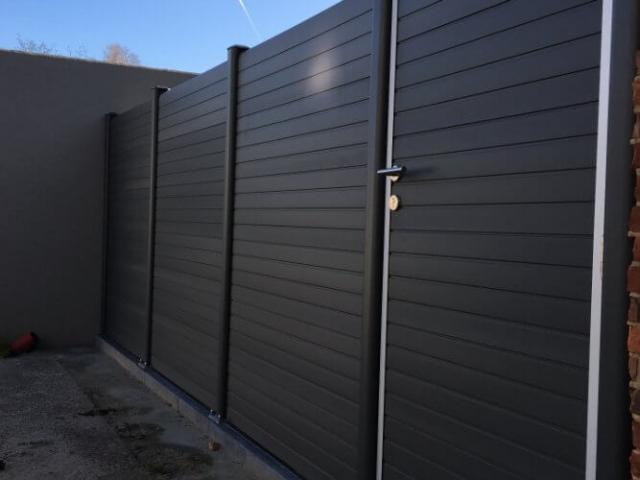 ECOfencing tuinscherm grijs met poortje